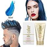 Cera para el cabello,130g Crema Para Colorante Pelo Temporal DIY Colorear y Modelar el Instant pelo Cera Cabello naturales color Wax para fiestas, Cosplay, Masquerade, halloween (Azul)