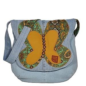 Damen Umhängetasche Denim mit Schmetterling Vintage Canvas Schultertasche Crossbody Jeans Tasche Damentasche…