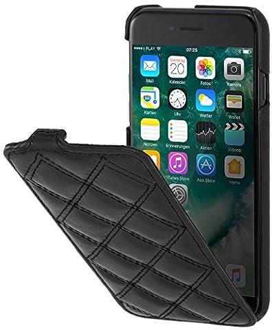 StilGut UltraSlim, housse pour iPhone 8 & iPhone 7 en cuir. Etui de protection à ouverture verticale et fermeture clipsée en cuir véritable pour iPhone 8 & iPhone 7 (4,7 pouces), Noir nappa - collection Carat