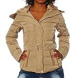G650 Damen Winter Jacke Steppjacke Parka Jacket Daunen Look Winterjacke, Größen:XL, Farben:Beige