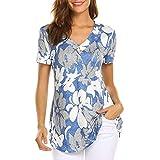 iYmitz Mode Damenmode Kurzarm Damen DruckenTops Mode T-Shirts Frauen Tops Bluse Weste Oberteile Tunika(Blau,EU-36/CN-S)