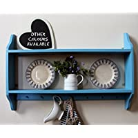 Shabby chic two tier shelf with Shakers pegs rail, bright blue, 3 sizes available