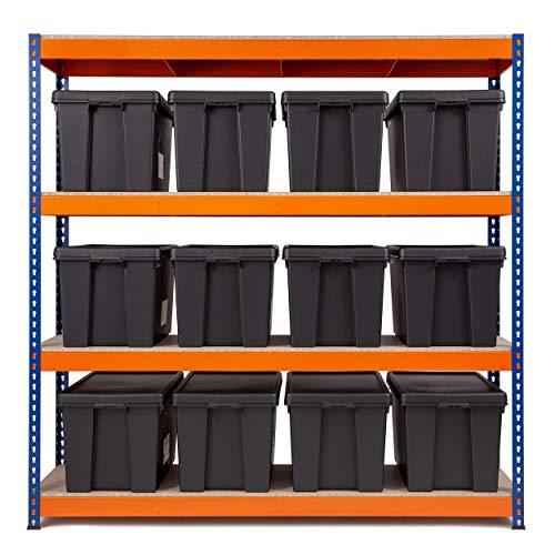 Schwerlast-Garagenregal, 500 kg, UDL, 1800 mm H x 1800 mm B x 600 mm T mit 12 Aufbewahrungsboxen von WHAM BAM