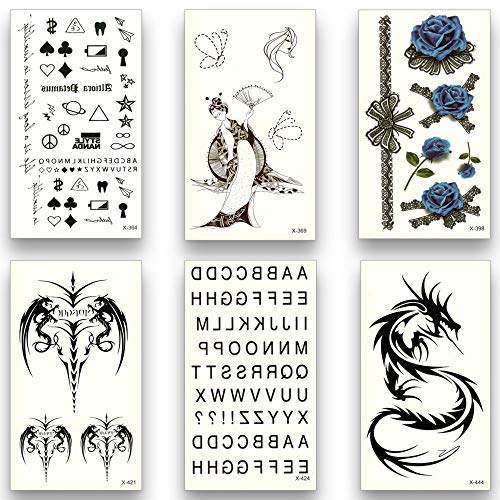 Dragon Kostüm Lady Sexy - Tattoo Aufkleber Wasserfest 12 Sheets Fake Temporary Tattoo Water Transfer Skull Rose Dragon Egypt Letter Eye Stickers Women Men Beauty Flash Sexy Art