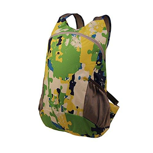LWJgsa Reise - Rucksack Männer Und Frauen Faltbare Tasche Ultraleicht - Camouflage Tragbares Licht Einfache Rucksack gelb - grün - blau - zauber