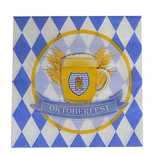 erdbeer-party - Motto-Party Servietten mit Wappen Oktoberfest, Rauten, blau weiß, (Kostüm Bier Karton)