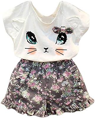 SMARTLADY Niñas Gato Patrón Camisa y Pantalones cortos