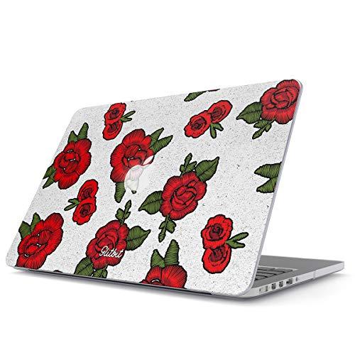 Glitbit Hülle Kompatibel für MacBook Pro 15 Zoll aus den Jahren 2012-2015, Modell: A1398 Retina Display Embroidered Red Rose Stylish Animal Damen Vintage Rote Rosa Weiß Blumen Muster Plastik Case Weiße Rose Swag
