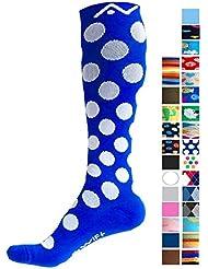 Calcetines de compresión (1par) para mujeres y hombres por a-swift–mejor deportivo para correr, deportes, Crossfit,–Viaje para Enfermeras, maternidad embarazo, dolor de espinillas–por debajo de la rodilla alta, Blue Polka Dots