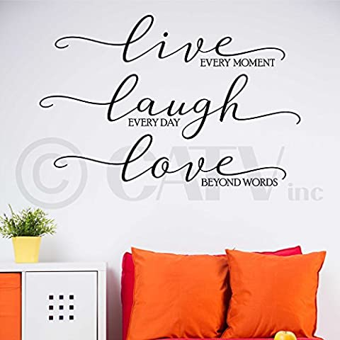 Live Every Moment Laugh Everyday Love Beyond Words (Large) wall sayings vinyl lettering home decor decal stickers quotes appliques art