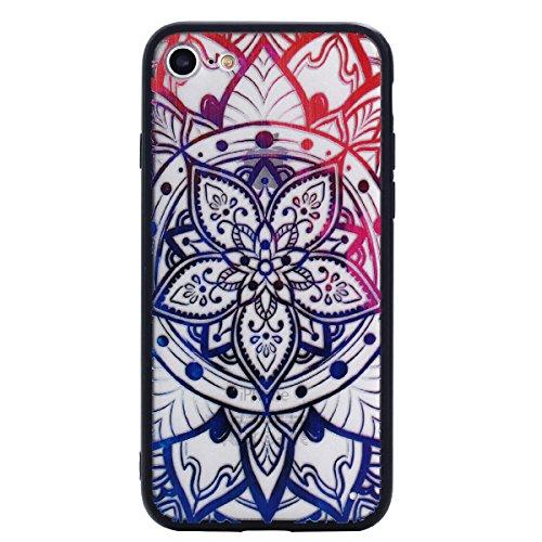 iPhone 7 Hülle, Voguecase Silikon Schutzhülle / Case / Cover / Hülle / TPU Gel Skin für Apple iPhone 7 4.7(Bunte Feder 14) + Gratis Universal Eingabestift Bunte Mandala