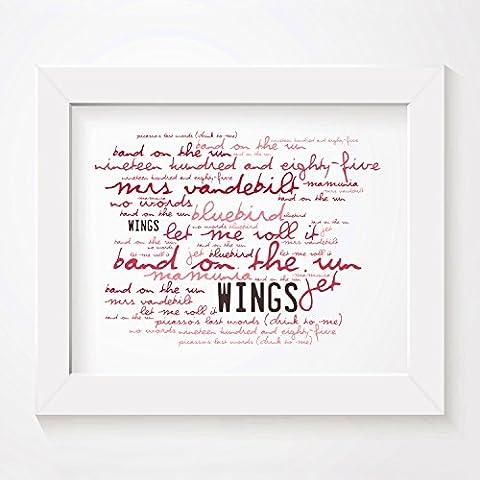 'Zephyr` Poster Affiche d'art - WINGS - Band On The Run - Edition signée et numérotée limitée typographie non encadré 20 x 25 cm la musique album mur art haute qualité d'impression - Song lyrics music poster