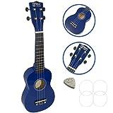 Linkshänder Sopran-Ukulele für Anfänger in blau mit GRATIS Tasche