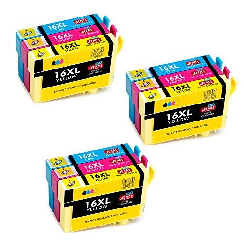 JIMIGO 16 XL 16XL Cartucce d'inchiostro Sostituzione per Epson 16 Cartucce Compatibile con Epson Workforce WF-2630 WF-2510 WF-2760 WF-2530 WF-2750 WF-2660 WF-2520 WF-2650 WF-2540 WF-2010