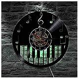LZXSGZ Reloj De Pared con Música De Piano Reloj De Disco De Vinilo Decoración del Hogar con Led Diseño 3D Decoración De Pared Negro/Diámetro 30 Cm