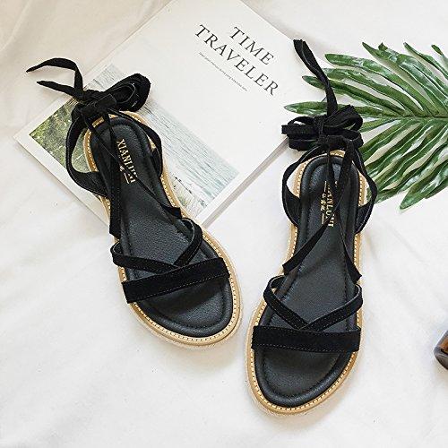 Lgk & fa estate sandali una ragazza a fondo piatto con sandali da donna Black