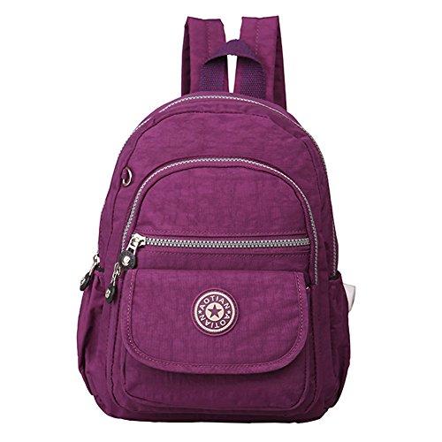 Etbotu Damen Rucksack, wasserdichter Rucksack mit Fassungsvermögen einfach waschen Tuch-Reisetasche violett (Violet Waschen)
