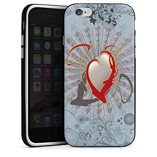 Apple iPhone X Silikon Hülle Case Schutzhülle Herz Heart Design Silikon Case schwarz / weiß