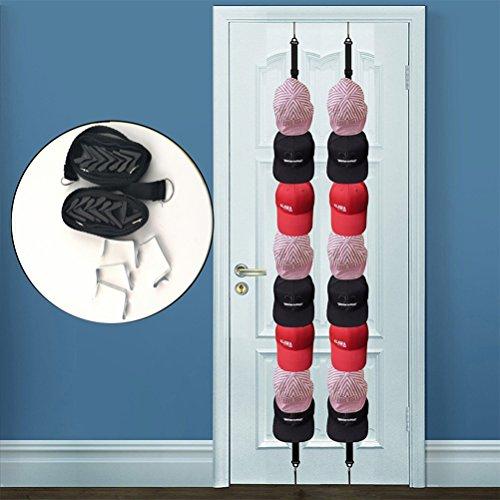 2 Stück Hutablage, Baseball-Cap-Halter für über die Tür, Kleiderbügel, Tasche, Kleidung Hüte. Schrankaufhänger für 16 Kappen