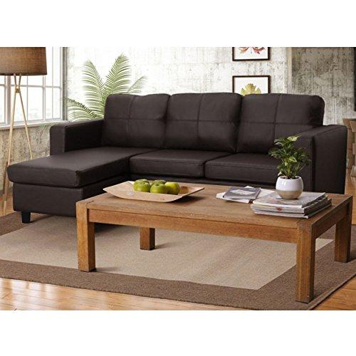 Furny Davis 3+1 Ottoman L Shape Leatherette Sofa (Brown)