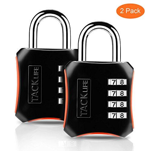 Candado de combinación, TACKLIFE-HCL3B-2 Packs Candado de numeración de 4 dígitos Cerraduras de equipaje...