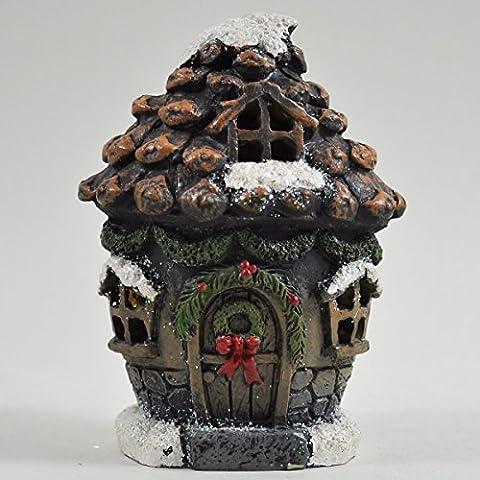 Petit Festive magique Pin Cône Maison Jardin Décoration d'intérieur LED–Piles Elfe Pixie Home 11cm Noël enneigé