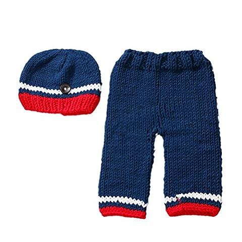 Zhhlaixing NewBorn Baby Girls Boys Photo Photography Prop Hat Pants Set Crochet Knit Costume Clothes -Dark blue XDT-343#
