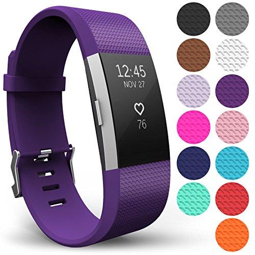 Yousave Accessories® Armband für Fitbit Charge 2, Ersatz Fitness Armband und Uhrenarmband, Silikon Sportarmband und Fitnessband, Wristband Armbänder für Fitbit Charge2 - Groß, Pflaume