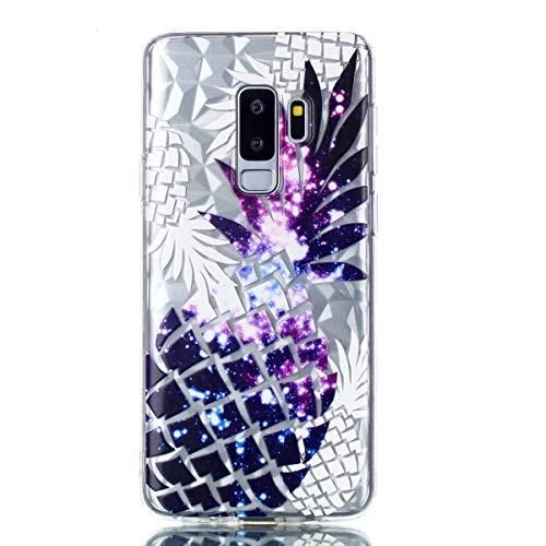 MoreChioce kompatibel mit Galaxy S9 Plus Hülle,kompatibel mit Galaxy S9 Plus Handyhülle, Cool 3D Paillette Transparent Silikon Bumper,Luxe Zweifarbige Ananas Stoßfest Durchsichtig Etui,EINWEG