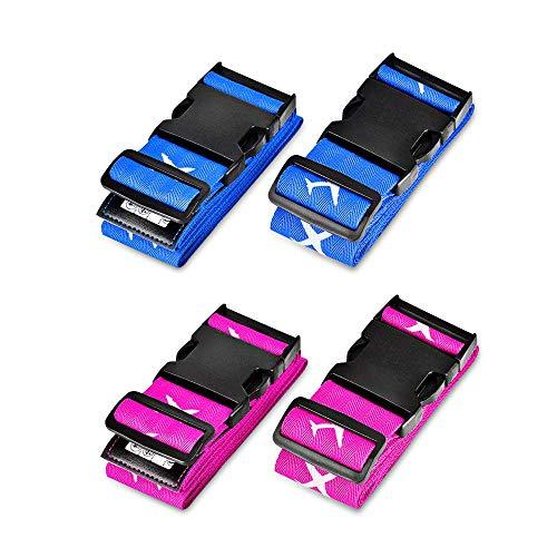 Gepäckgurt, Solawill 4 Stück Koffergurt Einstellbare Kofferband Travel Accessories Kofferband Gepäckband zum Sicheren Verschließen der Koffers auf Reisen und Kennzeichnen von Gepäck-Blau und Rose rot
