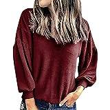 Felpa Donne Moda Sciolto Casuale Tinta Unita Girocollo Lanterna A Maniche Lunghe Felpa Elegante Comode Felpa Top Tinta Unita Manica Lunga con Tempo Libero Blouses Sweatshirts