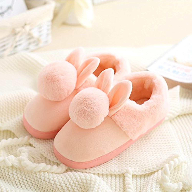 YMFIE Señoras y señores winter home una cálida y hermosa de algodón suave antideslizante abajo zapatillas zapatos  -