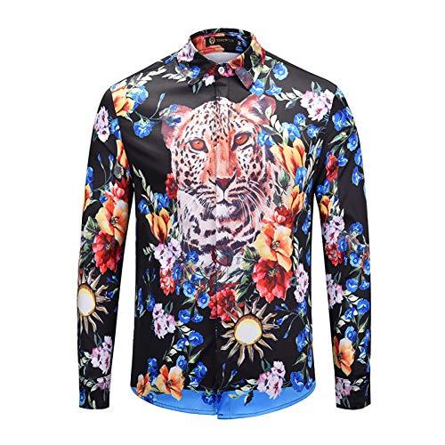 CHENS T Shirt/Langarm/Kurzarm/Slim fit Frühling Langarm Shirt Persönlichkeit Farbe Blumen Cheetah Animal Print 3D Mens Shirt