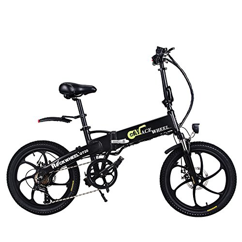GT20 48V * 350W Bicicleta plegable de 20 pulgadas Bicicleta de montaña eléctrica 5 PAS Ciclismo dentro de la batería...