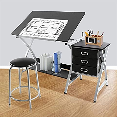 tinkertonk Adjustable Drafting Table Drawing Station w/ Stool