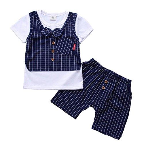 g Gentleman Tuxedo Kurzarm Weste T-Shirt und Plaid kurze Hose für 6 Monate bis 4 Jahre alt (Blau Tuxedo Kostüme Shirt)