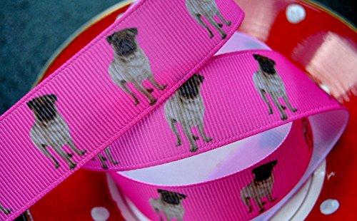 Ribbon Queen 2m x 22mm pink Pugs Mops Hund Hunde Ripsband für Geburtstag Kuchen Geschenkpapier Haar Bögen Karten Craft Schnürsenkel in Verpackung Markenlogo