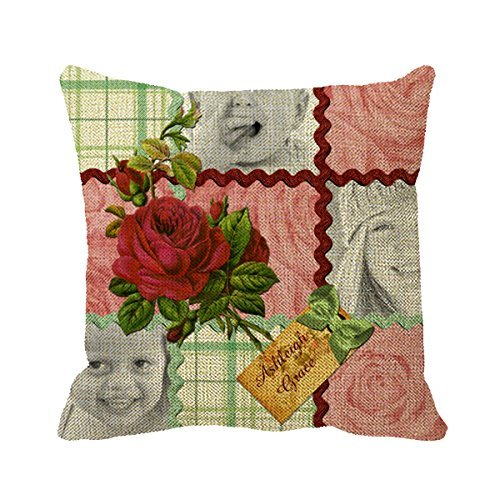 FPcustom Pillowcase Custom Photo Quilt Block Red Pink Rose Green Plaid Throw Pillow Cover 20inch (Fabric Quilt Stripe Cotton)