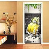 DSAOMO Stickers Porte Poster Voiture d'anime 3D Papier Peint Porte Trompe l'oeil pour Salon Chambre Décoration De La Maison Stickers Muraux Imperméable Stickers Amovibles 77x200cm(B x H)