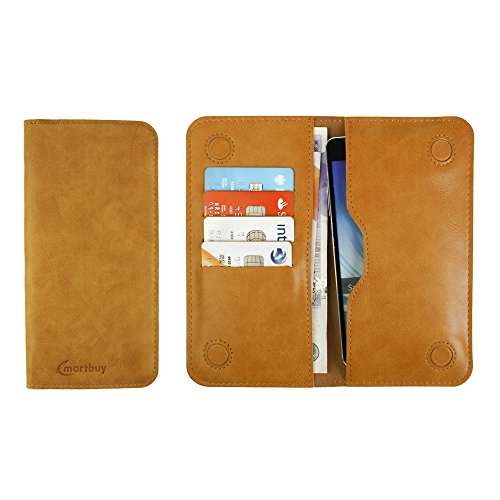 Emartbuy® PU Leather Magnetic Slim Wallet Case Cover Sleeve for Intex Aqua Octa (Size LM4_Tan Plain)