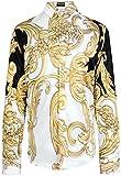 PIZOFF Herren Luxus Palace Still Fashion Hemden mit Pflanze Blumen Medusa Y1706-20-XXL