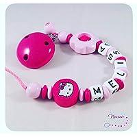 Schnullerkette mit Namen - HELLO KITTY - große Blume - pink, rosa