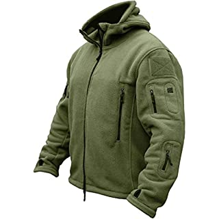 TACVASEN Windproof Men's Military Fleece Combat Jacket Tactical Hoodies, Green, L