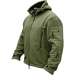 TACVASEN Chaqueta Militar Caliente para Hombre a prueba de viento Fleece Jacket Verde
