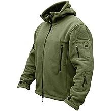 TACVASEN Verde táctico Chaqueta Forro polar para hombre militar combate capa
