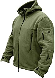 TACVASEN Outdoorjacke Herren Winter Outdoor Camping Angeln Jagd Fleece Jacke Mens Mountain Klettern Jacket Frühlingsjacke Armeejacke Army Grün