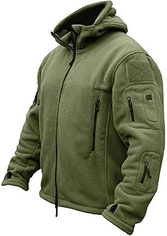 TACVASEN Thermal Men's Army Military Fleece Jacket Hoodie Full Zip for Outdoor Hiking,Skiing,Camping,Climbing,Hunting,Fishing,Walking,Trekking Parka Coat Green