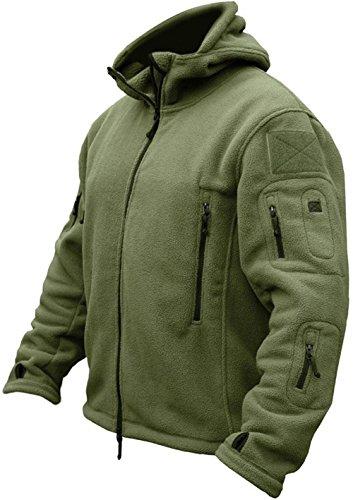Tacvasen giacca in pile da uomo outdoor militare caldo cappotto con cappuccio verde
