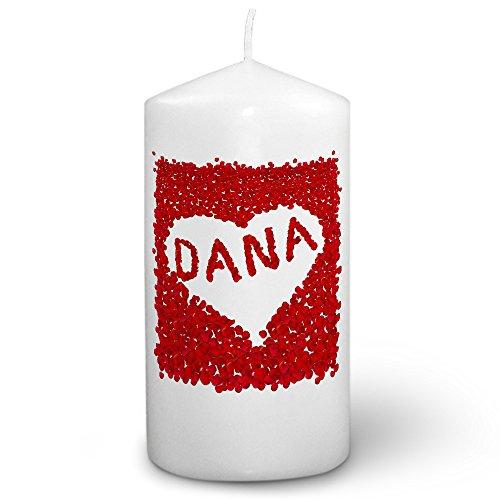 Dana Kerze (Kerze mit Namen Dana - Fotokerze mit Design Rosenherz - romantische Wachskerze, Taufkerze, Hochzeitskerze, Stumpenkerze)
