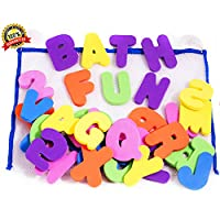 BATH LETTERS AND NUMBERS 36 Piece Set Foam Bath Alphabet Letters and Numbers 0 - 9 , with Mesh Bag Bath Toy Organiser. The Best Educational Bath Toys. Non Toxic EVA Foam. Bath Time Fun